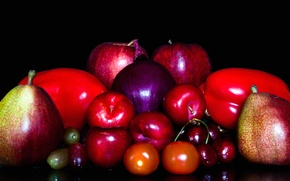 Picture cherry, Apple, bow, fruit, vegetables, tomato, drain