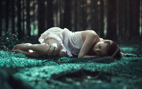 Picture forest, girl, longing, Emerald woods