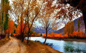 Picture autumn, forest, the sky, leaves, water, trees, mountains, nature, Park, river, colors, colorful, forest, river, …