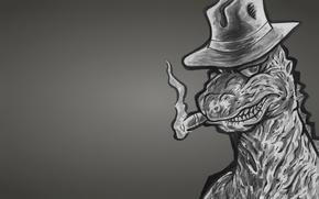 Picture monster, dinosaur, hat, cigar, gangster, Godzilla, dark background, Godzilla, dinozaur