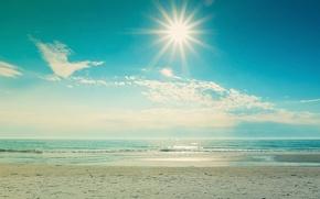 Picture beach, the sky, the sun, the ocean