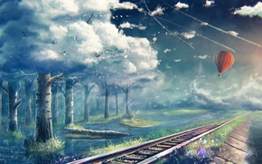 Picture trees, balloon, rails, art, railroad