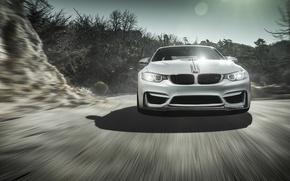 Picture BMW, Sky, Front, Vorsteiner, Sun, White, Tuning, Road, Wheels, Ligth