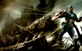 Picture gun, war, soldiers, captain, bullets, America, shield, comics, superhero, ricochet