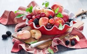 Picture summer, cherry, berries, knife, Board, fruit, still life, peaches, cherry, BlackBerry, nectarine, Anna Verdina