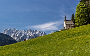 Picture grass, mountains, slope, Alps, Church