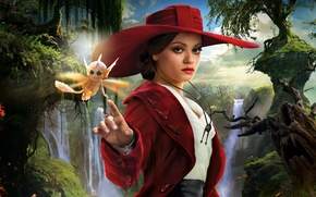 Wallpaper hat, poster, waterfall, trees, Mila Kunis, sorceress, Oz the Great and Powerful, Wicked Witch of ...