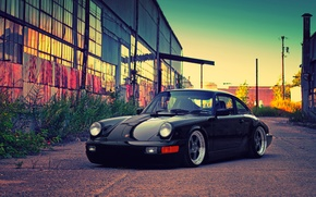Wallpaper black, building, Porsche