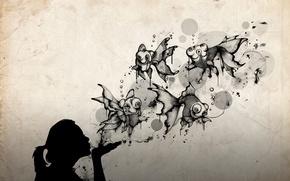 Picture girl, fish, silhouette