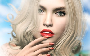 Picture summer, eyes, girl, face, hair, lipstick, lips, manicure