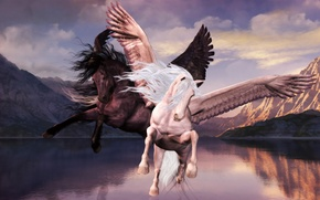 Picture clouds, flight, mountains, lake, The Pegasi