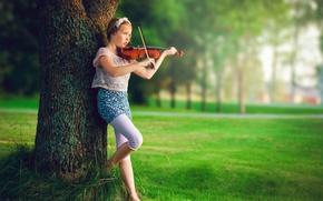 Wallpaper girl, violin, music