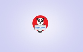 Wallpaper minimalism, panda, smile, Panda, plate, the red circle, welcome, light background, welcome, the inscription