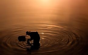 Picture sunset, water, lake, fisherman