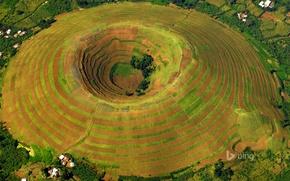Picture field, home, the volcano, crater, terrace, Uganda, Kisoro