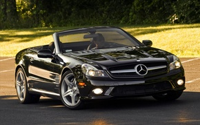 Picture road, machine, cars, Mercedes, gelding, trees, widescreen walls, mercedes sl cars pictures, road with cars