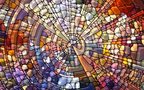 Picture mosaic, abstraction, pattern, stained glass, colorful