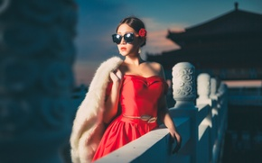 Picture girl, face, style, red, dress, glasses, fur, Asian