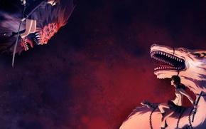 Wallpaper battle, girls, dragons, weapons, katana