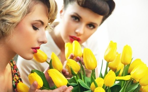 Picture flowers, girls, face, tulips