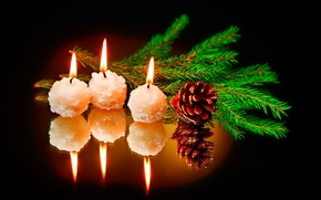 Picture reflection, fire, holiday, branch, candles, new year, bump, black background, spruce