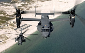Wallpaper Military, Flight, Shore, Water, Sand, Base, Helicopter, Height, Sea, Beach, Earth, The tiltrotor, Sikorsky, MH-53J ...