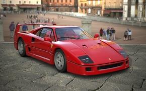 Wallpaper Ferrari F40, Car, People, Red, The city, Red, Car