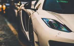 Picture white, McLaren, headlight, supercar, MP4-12C, bokeh
