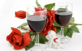 Picture photo, Red, Glasses, Wine, Roses, Food