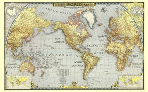 Picture labels, continents, world map, oceans