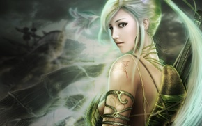 Picture eyes, girl, hair, beautiful, long, green, lands of chaos