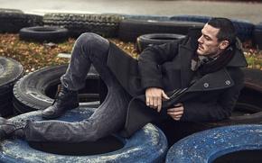 Picture male, tires, coat, Luke Evans, luke evans