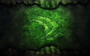 Picture cracked, green, logo, technology, nvidia