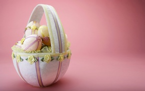 Picture eggs, Easter, basket, bow, Sunday