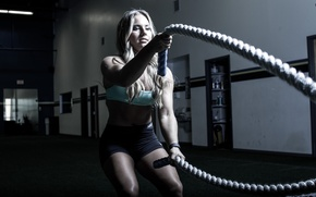 Picture blonde, workout, rope, crossfit