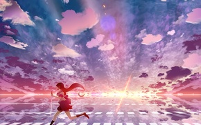 Picture the sky, girl, clouds, sunset, umbrella, anime, art, schoolgirl, skyt2
