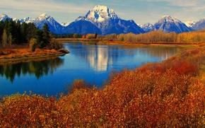 Picture autumn, the sky, trees, mountains, lake, reflection, river, Wyoming, USA, grand teton national park