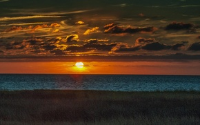 Picture sea, the sky, grass, the sun, clouds, sunset, shore, horizon