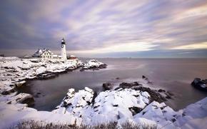 Picture landscape, lighthouse, portland head light