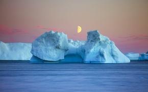 Picture sea, ice, Good Night