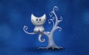 Picture winter, snowflakes, smile, tree, Cheshire cat