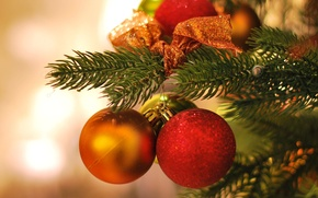 Picture red, background, holiday, balls, Wallpaper, toys, tree, new year, Christmas, spruce, blur, wallpaper, new year, …
