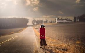 Picture road, autumn, girl, hat, waiting, coat