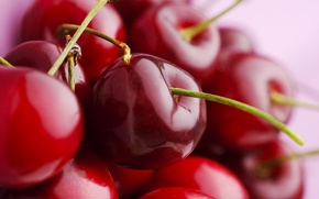 Picture macro, berry, beautiful, red, cherry, ripe, juicy