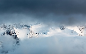 Picture winter, snow, mountains, clouds, nature, top