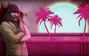 Picture palm trees, blood, hat, beard, Hotline Miami