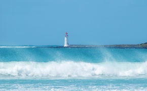 Picture sea, wave, beach, the sky, squirt, blue, lighthouse