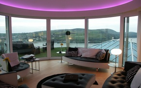 Picture glass, design, house, style, interior, terrace, living room