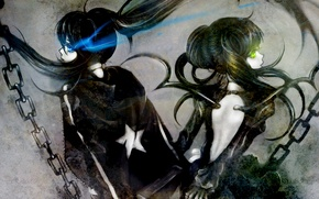 Picture girls, chain, Black Rock Shooter, long hair, Dead Master, Mato Kuroi