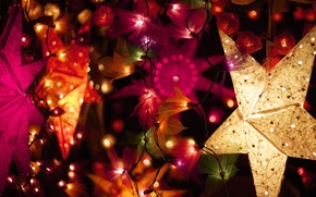 Picture winter, decoration, lights, star, New Year, Christmas, the scenery, garland, Christmas, colorful, holidays, New Year, …